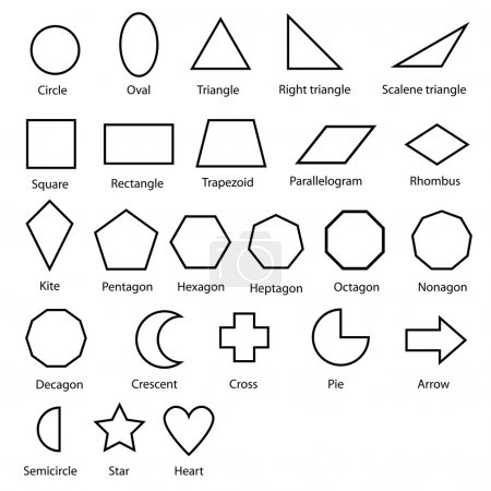 Illustration for Image of shapes chart for kids vector isolate on white - Royalty Free Image