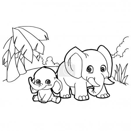 elephant cartoon coloring pages vector