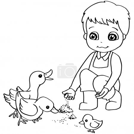 Coloring book  child feeding duck vector