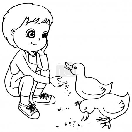 Coloring book  child feeding duck vector