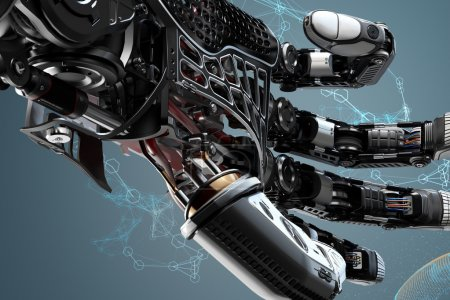 Photo for Closeup robotic arm mechanism. Futuristic background and design elements.3d rendered image. - Royalty Free Image