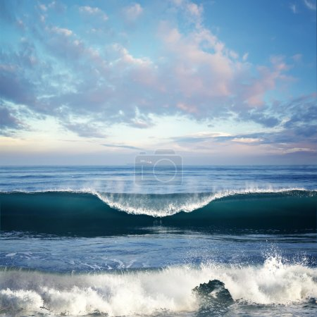 Seascape with Big surfing wave
