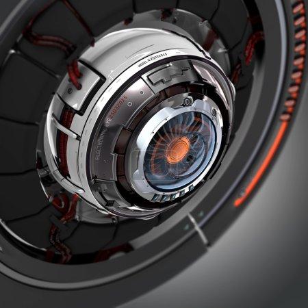 Photo pour Design futuriste. Cyberœil électronique conceptuel. Robot artificiel mécanique détail gros plan . - image libre de droit