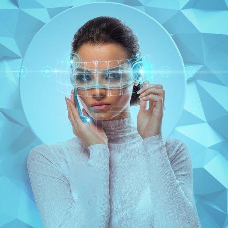 Futuristic Businesswoman Wearing virtual Glasses