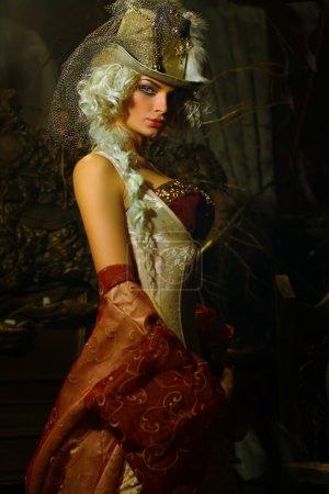 Blonde woman wearing hat