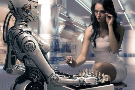 Woman Playing Chess with Fembot Robot...