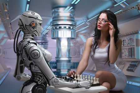 Photo for Woman Playing Chess with Fembot Robot - Royalty Free Image
