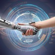 Female human and robot's handshake as a symbol of ...