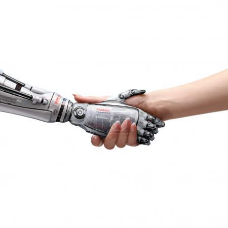 Photo for Female human and robot's handshake as a symbol of connection between people and artificial intelligence technology - Royalty Free Image