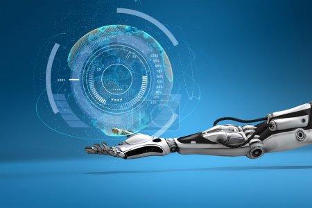 Photo pour Main dandandroïque futuriste retenant le globe numérique virtuel de terre. Concept de conception de technologie de science-fiction. - image libre de droit