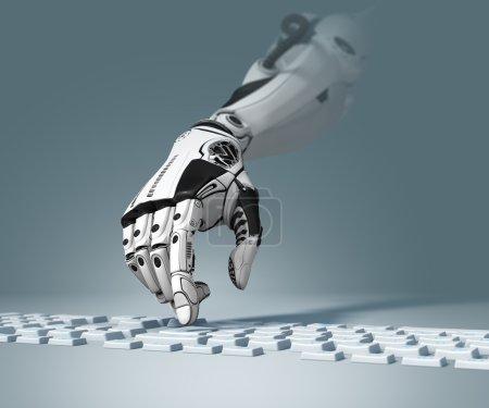 Photo pour Conception technologique conceptuelle. Bras robotique fonctionnant avec le clavier d'ordinateur. Image de plan rapproché et profondeur du champ - image libre de droit