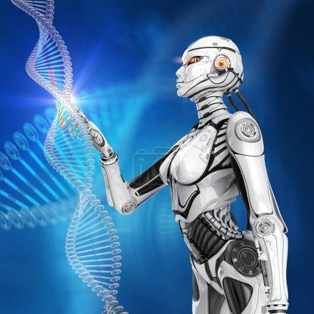 Photo pour Adn humain virtuel conçu moderne. Android féminin futuriste travaillant avec le modèle - image libre de droit