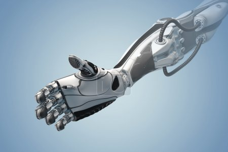 Photo for Futuristic design gesture concept. A robotic mechanical arm looks ike a human hand. Cybernetic organism with Artificial Intelligence ready to gives a handshake - Royalty Free Image