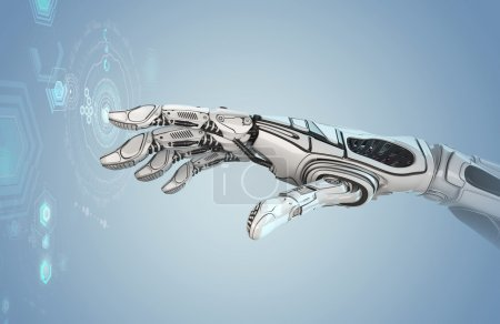 Photo for Futuristic design concept. A robotic mechanical arm looks like a human hand. A Creature with Artificial Intellegence working with virtual Infographic HUD on background. Closeup image of cyber fingers. - Royalty Free Image