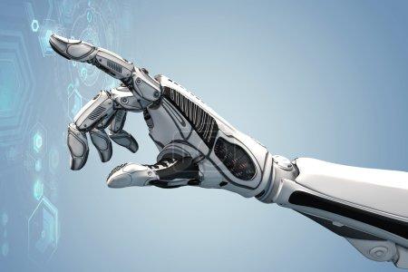 Photo pour Concept de design futuriste. Un bras mécanique robotique ressemble à une main humaine. Une créature avec une intelligence artificielle travaillant avec un HUD infographique virtuel en arrière-plan. Image rapprochée des cyber doigts . - image libre de droit