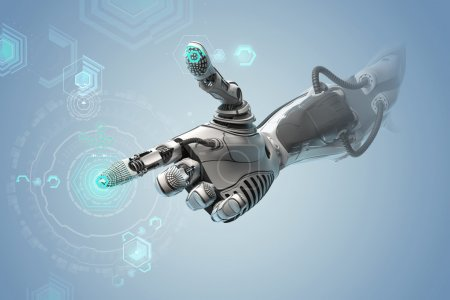 Photo for A robotic mechanical arm looks as like a human hand. Finger touching gesture. Cyber with Artificial Intelligence working with virtual Infographic HUD. Shining icon as control elements on background. - Royalty Free Image