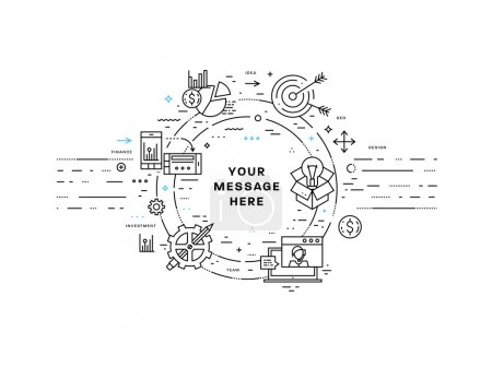Illustration for Flat Style, Thin Line Art Design. Set of application development, web site coding, information and mobile technologies vector icons and elements for landing page. Modern concept vectors collection. - Royalty Free Image