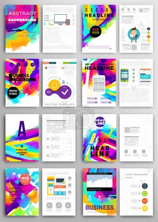 Illustration for Set of Vector Poster Templates with Watercolor Paint Splashes. Abstract Background for Business Documents, Flyers, Posters and Placards. - Royalty Free Image