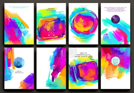 Set of Templates with Watercolor Paint Splashes