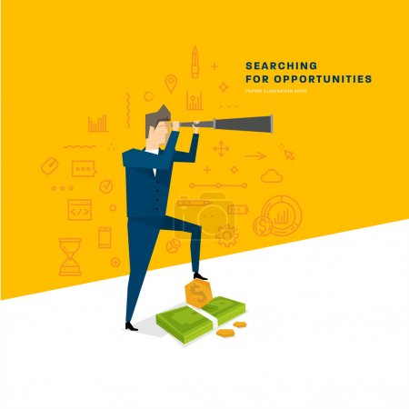 Illustration for Searching for Opportunities Concept. Businessman with telescope. Vector Illustration. Flat Style - Royalty Free Image
