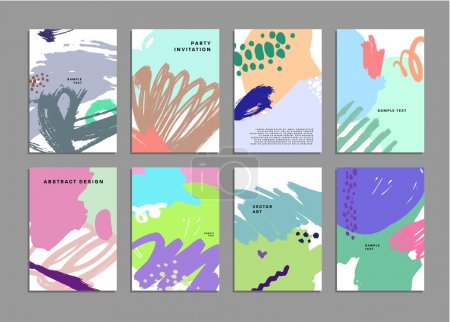 Illustration for Set of Hand Drawn Universal Cards. Design for Flyers, Placards, Posters, Invitations, Brochures. Artistic Creative Templates. Abstract Modern Style - Royalty Free Image