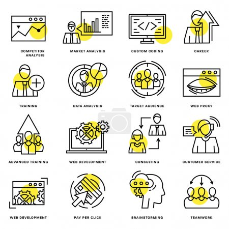 Illustration for Thin Line Icons Set. Business Elements for Websites, Banners, Infographic Illustrations. Simple Linear Pictograms Collection. Logo Concepts Pack for Trendy Designs. - Royalty Free Image
