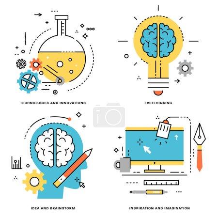 Illustration pour Ensemble vectoriel plat. Technologies et innovations, idées et remue-méninges, concept de libre pensée, d'inspiration et d'imagination - image libre de droit