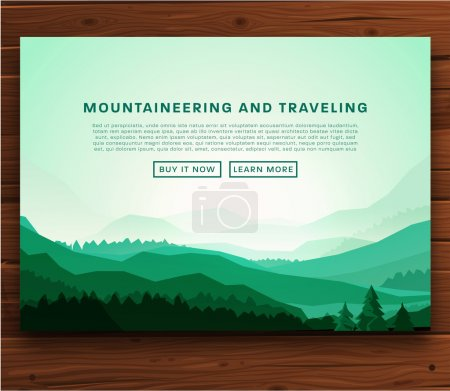 Illustration for Mountaineering and Traveling Vector Illustration. Landscape with Mountain Peaks. Extreme Sports, Vacation and Outdoor Recreation Concept. - Royalty Free Image