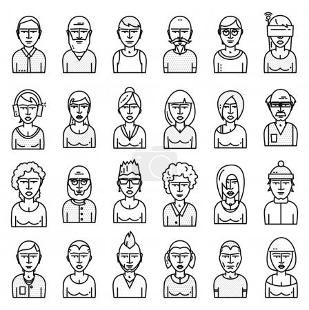 Illustration for Set of People Avatars for Profile Page. Flat Style Line Icons for Social Network or Social Media Design. Men and Women Characters Collection - Royalty Free Image