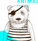 Hand Drawn Bear Pirate with Eye Patch and Striped Shirt Vector Graphic Illustration