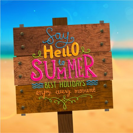 Illustration for Wooden Plaque with Say Hello to Summer, Best Holidays, Enjoy Every Moment Lettering. Blurred Background. Summer Beach. Sand and Ocean. Blue Sky with Clouds. Summer Design for Beach Party Placard. - Royalty Free Image