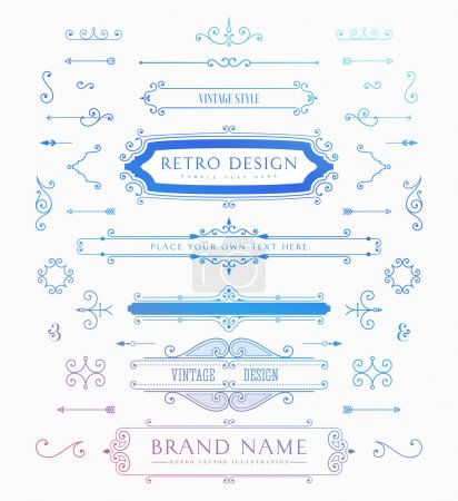 Illustration for Set of Vintage Decorations Elements. Flourishes Calligraphic Ornaments and Frames. Retro Style Design Collection for Invitations, Banners, Posters, Placards, Badges and Logotypes. - Royalty Free Image