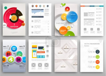Illustration for Set of Flyers, Brochure Design Templates. Geometric Triangular Abstract Modern Backgrounds. Mobile Technologies, Applications and Online Services Infographic Concept. Typographic Emblems, Logo, Banners - Royalty Free Image