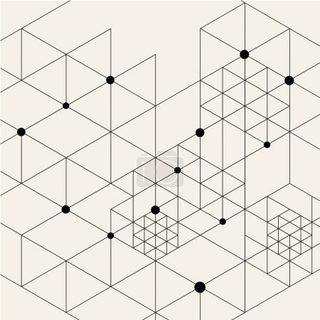 Illustration for Vector Modern Black Techno Geometric Pattern Background. Rhombus, Triangles and Circles in Nodes. Abstract Ornament for Business Design. - Royalty Free Image