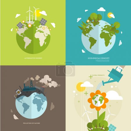 Illustration for Ecology Concept Vector Icons Set for Environment, Green Energy and Nature Pollution Designs. - Royalty Free Image