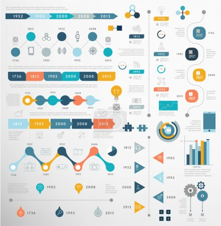 Illustration for Set of Timeline Infographic Design Templates. - Royalty Free Image