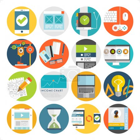 Illustration for Set of Flat Style Icons. Business, Technology, Mobile Phones and Tablet PC, Infographic and Payments Designs. Long Shadows Web Elements Collection. SEO and Internet Advertising Vector Objects - Royalty Free Image