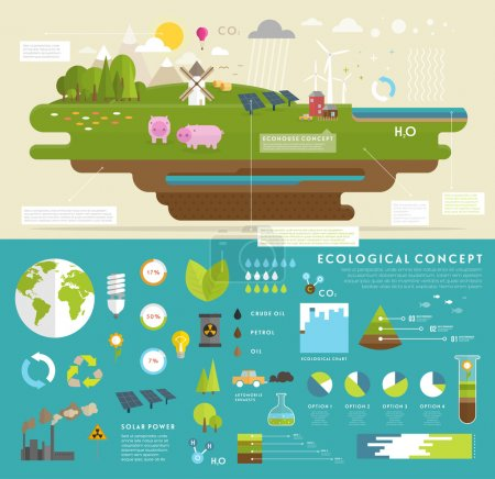 Illustration for Ecology Concept Vector Icons Set for Environment, Green Energy and Nature Pollution Designs. Flat Style. Renewable Energy, Natural Farm Products, Fresh Air and Drinking Water - Royalty Free Image