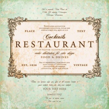 Illustration for Restaurant label design with old floral frame for vintage menu design - Royalty Free Image
