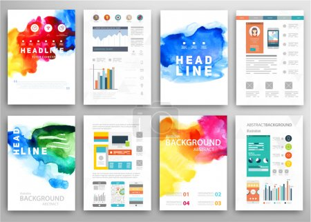 Illustration for Set of Vector Poster Templates with Watercolor Paint Splash. Abstract Background for Business Documents, Flyers, Posters and Placards. - Royalty Free Image