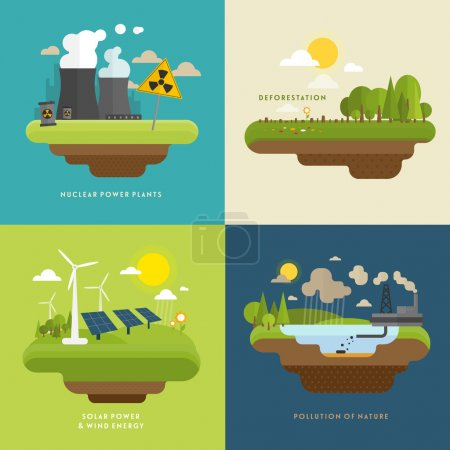 Illustration for Ecology Concept Vector Icons Set for Environment, Green Energy and Nature Pollution Designs. Flat Style. Renewable Energy, Natural Farm Products, Fresh Air and Drinking Water. - Royalty Free Image