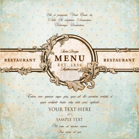 Illustration pour Design d'étiquette de restaurant avec cadre floral ancien pour la conception de menu vintage - image libre de droit