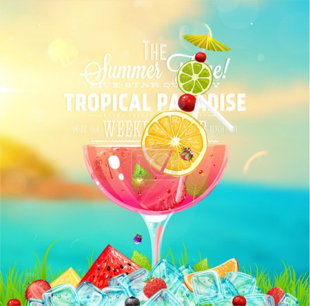 Illustration for Summer holidays vector illustration with cocktail, sun, sky, sea, fruits and berries. - Royalty Free Image