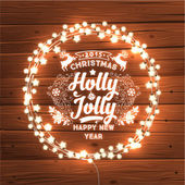 Glowing White Christmas Lights Wreath for Xmas Holiday Greeting Cards Design Wooden Hand Drawn Background