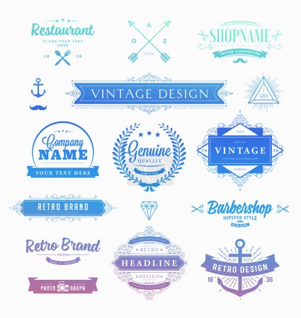 Illustration for Set of Retro Vintage Insignias and Logotypes. Business Signs, Logos, Identity Elements, Labels, Badges, Frames, Borders and Floral Design Elements. Instagram Art Style - Royalty Free Image
