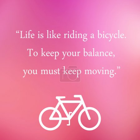 Vintage Motivational Quote Poster. Life is Like Riding a Bicycle