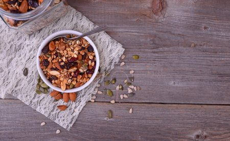 Granola from several types of cereals with nuts,coconut chips an