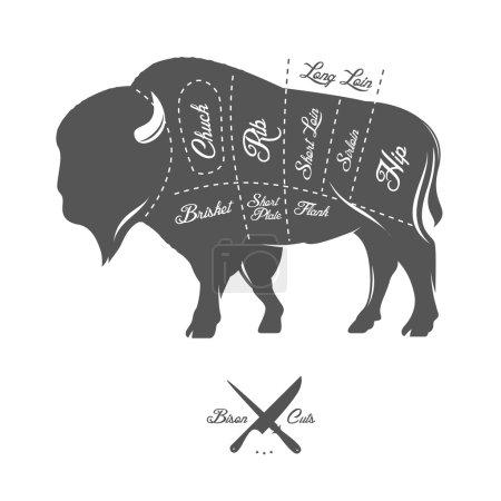 Illustration pour Coupes de boucher vintage de bisons schéma de buffle - image libre de droit