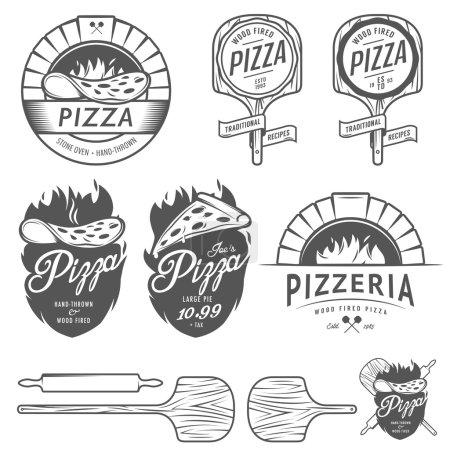 Illustration pour Étiquettes, badges et éléments de design pizzeria vintage - image libre de droit