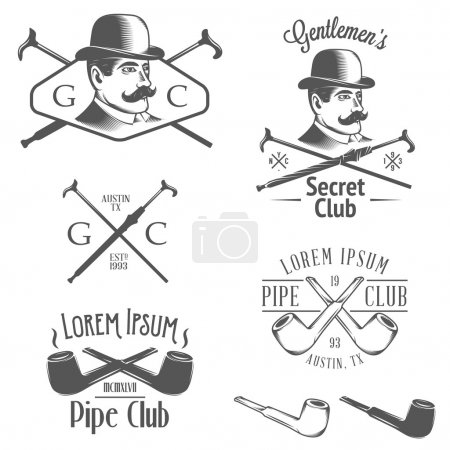 Set of retro gentlemens club design elements